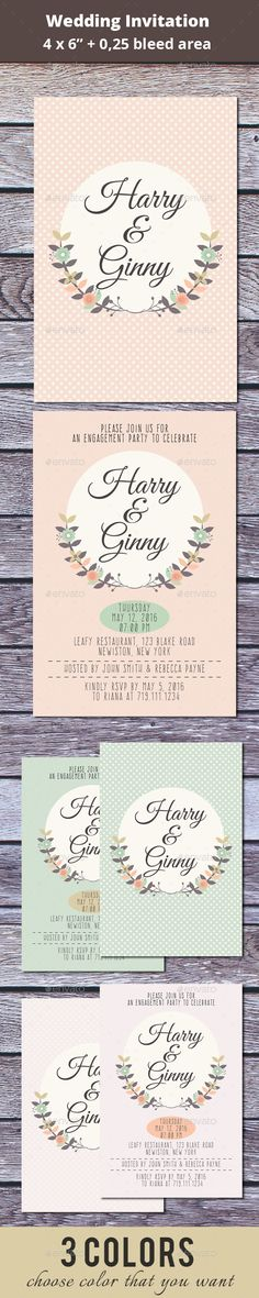 Make perfect your wedding day with this floral invitation. Just edit text and color if you want. So easy, right? Features:  - 6 fi