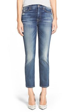 7 For All Mankind® Crop Straight Leg Jeans (Icelandic Blue) available at #Nordstrom