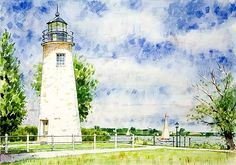 Watercolor Paintings of Lighthouses   Watercolor Concord Pt Lighthouse, Concord Pt Painting, Watercolor Art ...