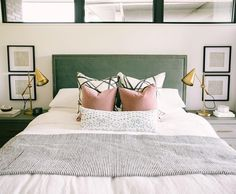 so glad I convinced my client to go for this soft sage-y green velvet headboard. isn't it just the dreamiest? Bedroom Headboard, Bedroom Inspirations, Home Bedroom, Green Bedding, Master Bedrooms Decor, Interior Design Bedroom, Bedding Master Bedroom, Green Headboard, Bedroom Green