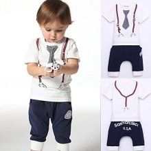 Boy Cotton Tie Belt Print Top T Shirt and Pants Baby Suit Outfits