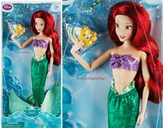 "PRINCESS ARIEL AND FLOUNDER ~DISNEY STORE 12"" CLASSIC DOLL~ THE LITTLE MERMAID #DisneyStore"