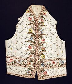 Waistcoat  Date: ca. 1790 Culture: French Medium: silk, cotton Dimensions: Length at CB: 19 1/2 in. (49.5 cm) Credit Line: Purchase, Irene Lewisohn Bequest, 1968 Accession Number: C.I.68.67.3