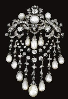 "Pearl and diamond brooch which belonged to Queen Olga of the Hellenes,neé Grand Duchess Olga Konstantinovna Romanova of Russia. ""AL"""