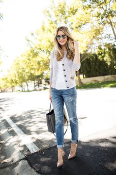 Swap out your dark skinnies with distressed boyfriend jeans! Pair them with pumps to brunch or try them with sneakers for a day of errands.