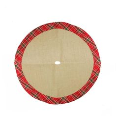 "20"" Decorative Burlap Mini Christmas Tree Skirt with Red Plaid Border"