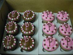 Initial polka dot cupcakes
