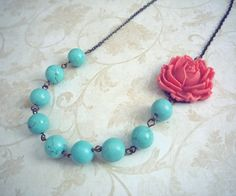 turquoise beads ~ coral red acrylic rose.
