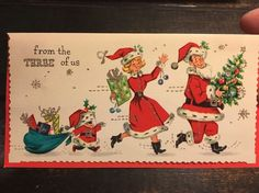 Vintage Christmas Greeting Card Mid Century 3 Of Us Family Presents Santa