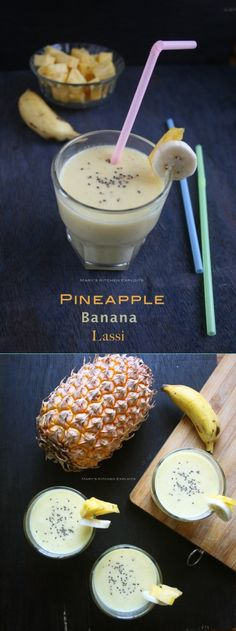 Pineapple Banana Lassi - Easy fruit lassi with less or no sugar added. Delicious, nutritious and filling summer drink. Lassi Recipes, Summer Drinks, Candle Jars, Christmas Holidays, Pineapple, Vitamins, Banana, Sugar, Fruit
