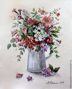 Купить Полевой букет в лейке - акварель, букет, цветы, картина, натюрморт, натюрморт с цветами
