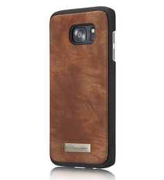 CaseMe 008 Samsung Galaxy S7 Edge Zipper Wallet Detachable 2 in 1 Retro Flannelette Leather Folio Case Brown