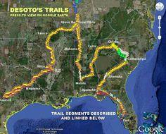 Hernando de Soto Trails on Google Earth