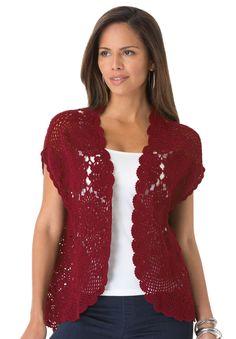 Plus Size Hand-Crocheted Cardigan