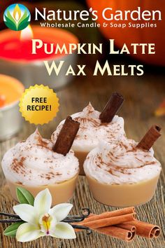 These Pumpkin Latte Wax Melts are made with our Spiced Pumpkin Latte Fragrance Oil and with fill your house with intoxicating aromas.