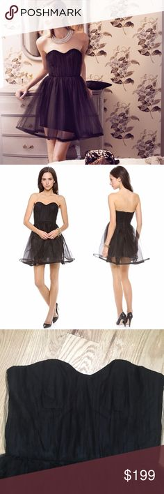 """Alice + Olivia Strapless Tulle Poof Dress This dress is so fun! Alice + Olivia Landi Pouf Dress in black. Crinkled tulle creates a cool, layered effect over a sculpted bustier bodice with a flirty, sweetheart neckline. Pintucking brings dramatic volume to the circle skirt. Tonal back zip. Lined. Approx 15"""" across bust, 13.5"""" across waist, 29"""" long. First 2 pics are stock. No signs of wear. EUC.  🚫 trades. If I want something in your closet badly enough, I'll buy it 😍 Reasonable offers…"""