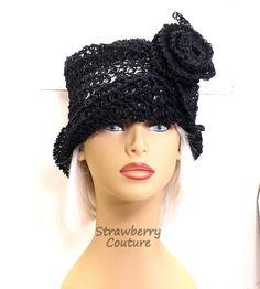 Summer Crochet Hat Womens Hat Hemp Hat Sun Hat  Summer Hat for Women Crochet Cloche Hat Crochet Flower Black Hat OMBRETTA by strawberrycouture by #strawberrycouture on #Etsy