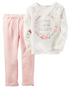 From the classroom to the playground, cozy joggers and a graphic top are a picture perfect combo.