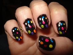 this is actually all self done, no templates. Just a simple black base with dots by brush of other bold colors. Easy!!