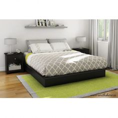 Modern platform bed frame king with nightstand set and green carpet
