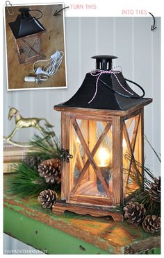 Five minute makeover - up-cycle a lantern into a lamp (no wiring!)