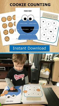 Cookie Monster Counting Printables for Kids Quiet Book | Toddler Activity Pages from KingPrintables #ad #etsyfinds #sesamestreet #printable #printables