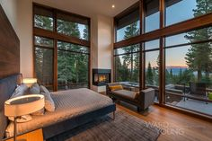 Secluded mountain modern home in Martis Camp surrounded by forest modern-bedroom Home Decor Bedroom, Bedroom Furniture, Master Bedroom, Bedroom Ideas, Asian Furniture, Modern Furniture, Rustic Lake Houses, Mountain Modern, Modern Lodge