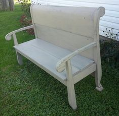 Sleigh bed headboard up cycled into a very awesome bench