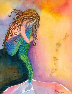 Fishful Thinking - Mermaid Art - Laser Print. $30.00, via Etsy.