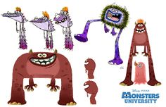 Monstres Academy - The Art of Disney Walt Disney, Disney Art, Disney Pixar, Monster University, Character Design Animation, 3d Character, Cartoon Kunst, Cartoon Art, Pixar Concept Art