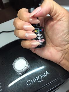 Nude nails... With a sprinkle of sparkle Chroma Gel 1 Step French Pink - Fastest gel polish is now available from Chroma Gel www.chromagel.co.uk #chromagel #1stepgelpolish #naildesign #sparklenails