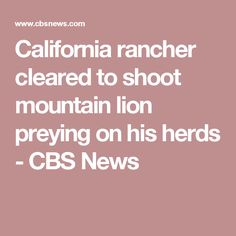 California rancher cleared to shoot mountain lion preying on his herds - CBS News