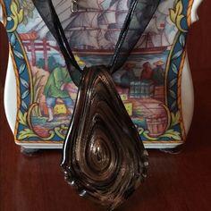 Venetian Glass Necklace Chocolate Swirl