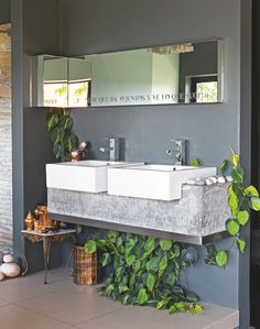 Modern Ethnic Bathroom with Concrete and Brass Touches
