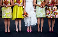 Bridesmaids Dresses Mixed and Matched patterns
