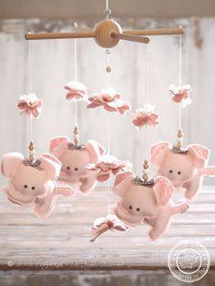 Light Pink Elephant #NurseryMobile Girl, Baby Girl Nursery Decor by #LollyCloth