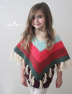 Crochet Kids Poncho with Caron X Pantone Yarn - Repeat Crafter Me Crochet Poncho Patterns, Crochet Mittens, Crochet Bebe, Baby Girl Crochet, Crochet For Kids, Crochet Shawl, Free Crochet, Crochet Pattern, Crochet Baby Poncho