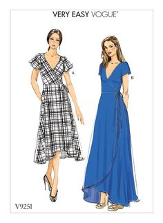 Purchase Vogue Patterns 9251 MISSES' WRAP DRESSES WITH TIES, SLEEVE AND LENGTH VARIATIONS and read its pattern reviews. Find other Dresses, sewing patterns.