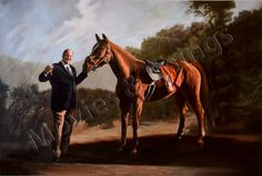 """18X24"""" Tony Soprano Print - Print of the painting of Tony Soprano w/ his horse, Pie-Oh-My - HBO's """"The Sopranos""""  In the HBO series, """"The Sopranos"""", Tony Soprano takes Ralph Cifaretto's horse, Pie-Oh-My. He loves that horse and he has a professional painting done of him holding it. This is an 18""""x24"""" print of that painting. Rare find, and a heck of a gift for the Sopranos buff in your life."""