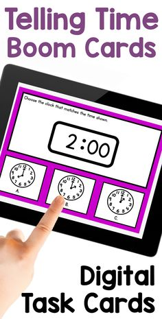 This digital telling time activity is a fun was for first grade kids to review telling time to the hour and half-hour. These multiple choice task cards prompt students to choose the time on the analog clock that matches the digital clock shown, or the time on the digital clock that matches the time on the analog clock shown. First Grade Science, First Grade Writing, First Grade Activities, Teaching First Grade, Student Learning, Teaching Math, Math Activities, Telling Time Activities, Learn To Tell Time