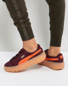 Puma   Puma Trace Platform Sneakers In Burgundy And Orange