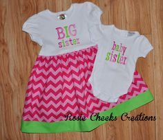 Baby Sister/Big Sister Set  Tshirt by RosieCheeksCreations on Etsy, $54.00