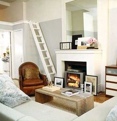 small living room design with loft bed