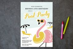 Fancy Flamingo Children's Birthday Party Invitations by Laura Hankins at minted.com