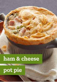 Ham & Cheese Pot Pie -- Warm ham and cheese go together like broccoli and cauliflower. And we've put that in the mix, too. Our hearty, creamy pot pie recipe looks restaurant-worthy and tastes even better.