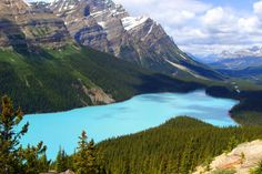 On your next trip to Canada, swing by the beautiful Peyto Lake in Banff National Park. It gets its stunning blue color from suspended fine rock particles known as glacial flour. Banff National Park Canada, National Parks, Gros Morne, Riding Mountain, Parks Canada, Canadian Rockies, Canada Travel, Natural Wonders