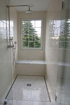 Cabochon Tile - bathrooms - glass front walk in shower, window in shower, shower… Master Bedroom Bathroom, Narrow Bathroom, Upstairs Bathrooms, Downstairs Bathroom, Bathroom Renos, Laundry In Bathroom, Bathroom Layout, Tile Bathrooms, Master Bath