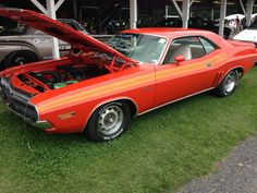 1971 Dodge Challenger R/T with rare V6V stripes.