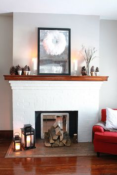A winter wonderland by the warmth of a cuddly fire. From Decor Adventures.