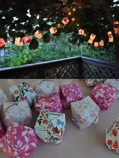 Origami balloon lanterns! Awesome! The thought of all the many scrapbook paper choices! #DIY #balloon #lantern #paper #light #lighting home #outdoors #nature